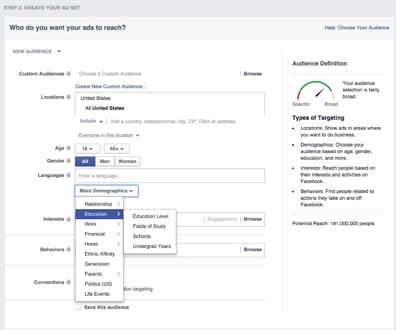 Facebook ads allow practices to target different demographics