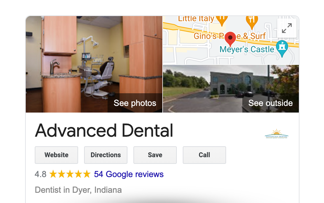 Example of a google listing