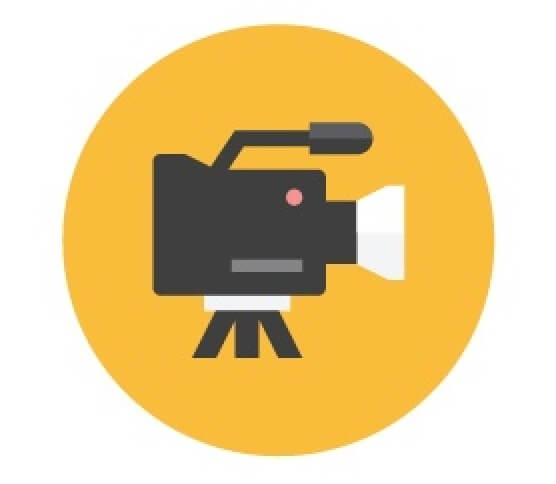 Circular icon of professional video camera