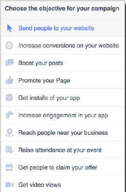 Create an objective for your Facebook Ad