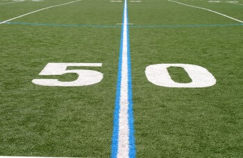 50 yard line to play on being 'on the line'