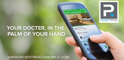 PatientReach Mobile Logo: Hand Holding Android Phone