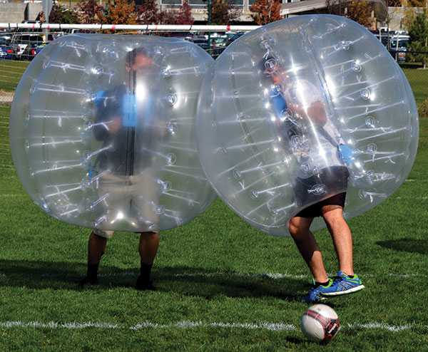 "Ballers. It's BubbleBall, boys and girls! To celebrate the team (and let off steam), employees at the Lehi company just rolled with it. ""You have to have fun as a company,"" says CEO Jim Higgins. ""Or else you will absolutely go crazy."""