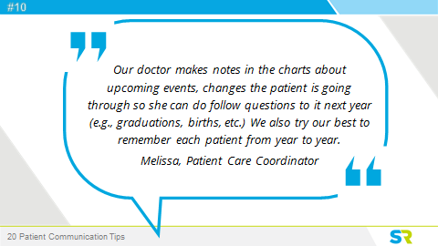 Patient communication tips
