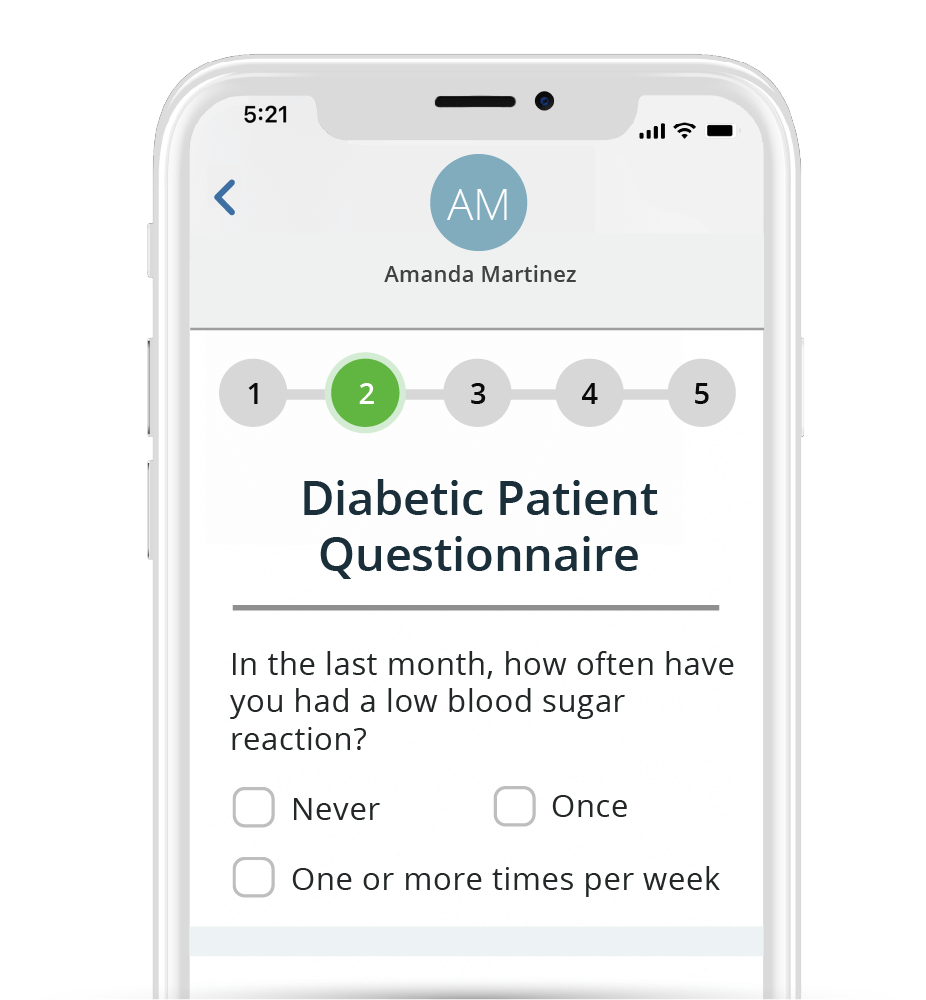 Patient Intake software shown on mobile phone