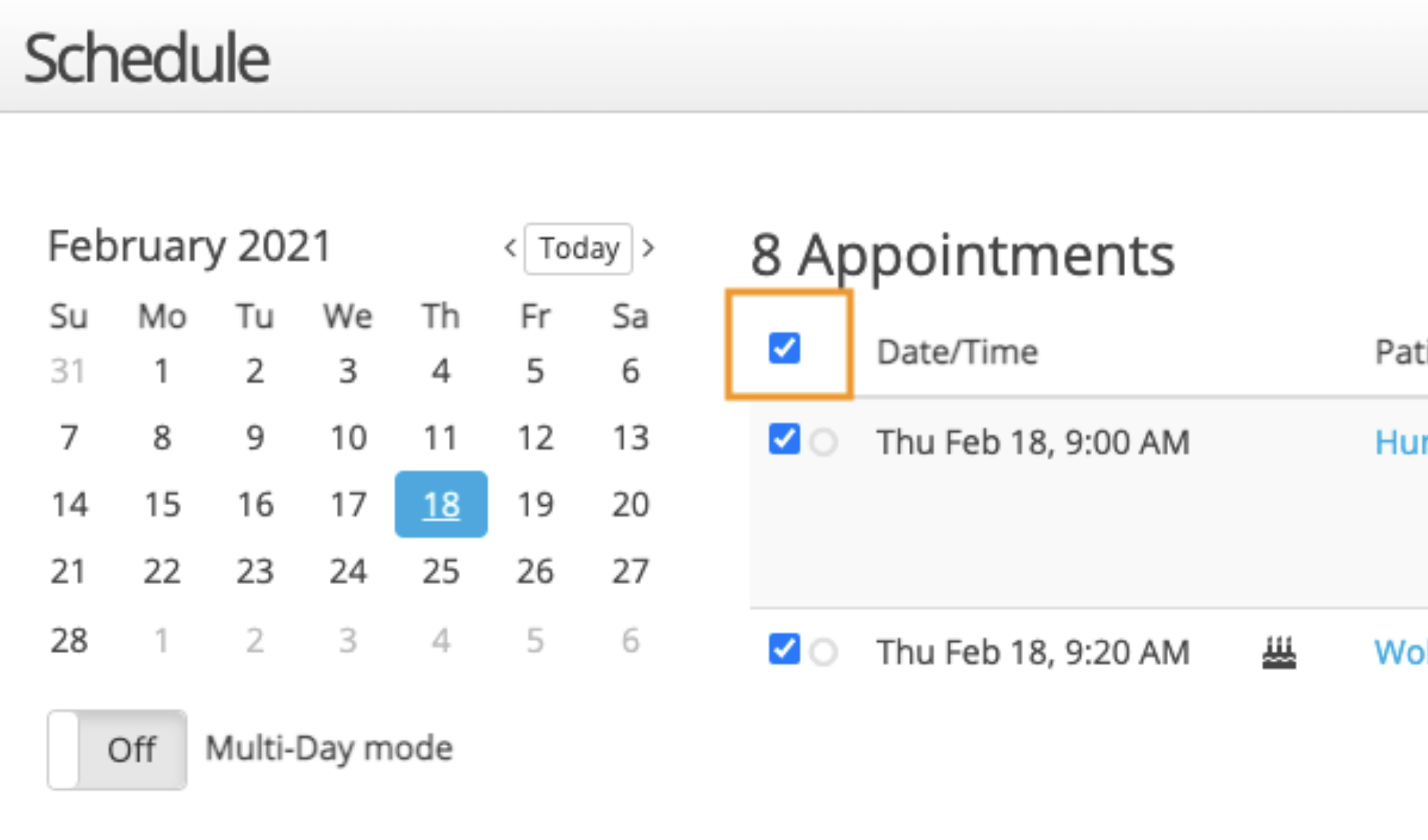 select multiple patients from the schedule tab
