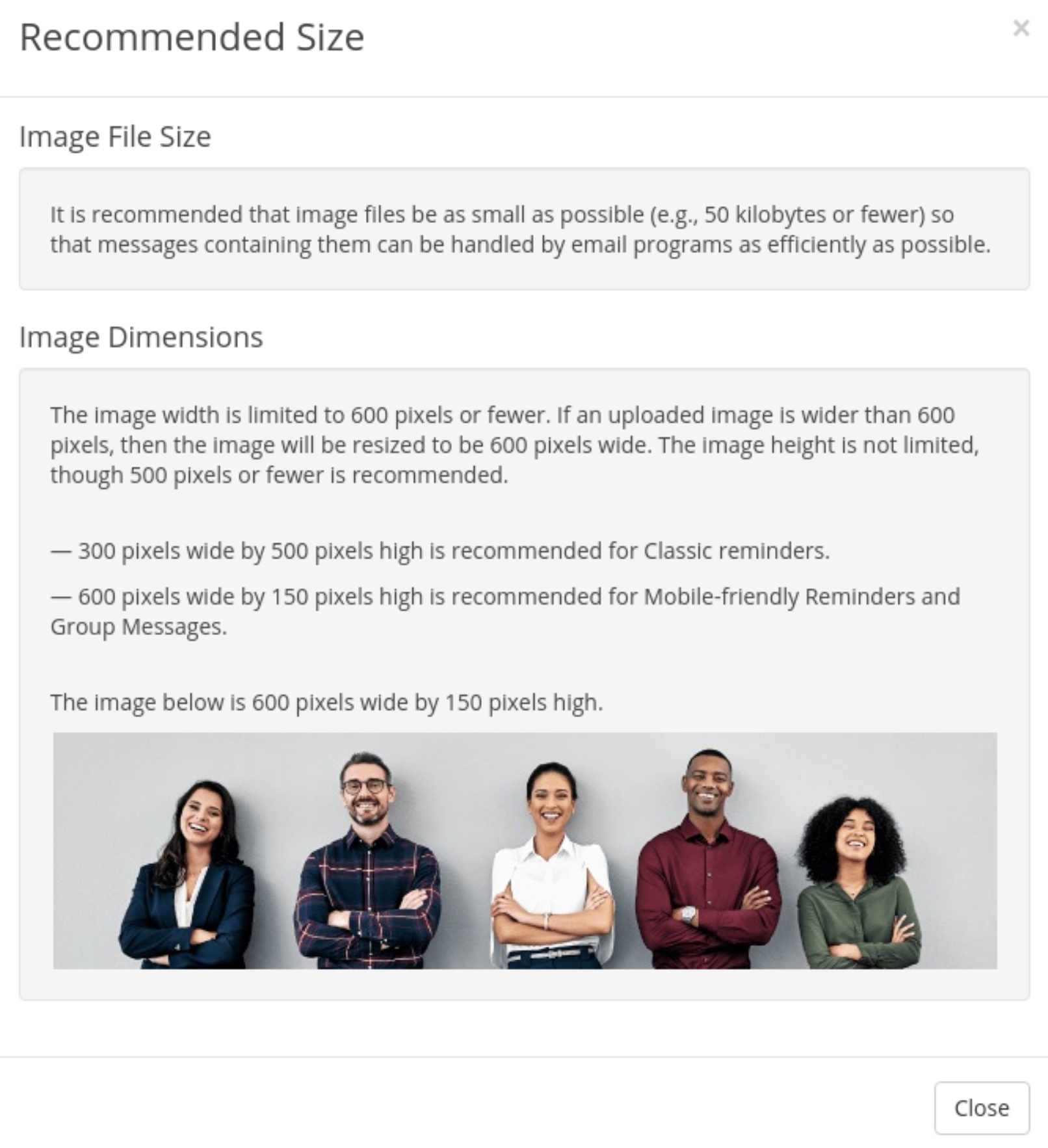 image size recommendations for reminders and group messages