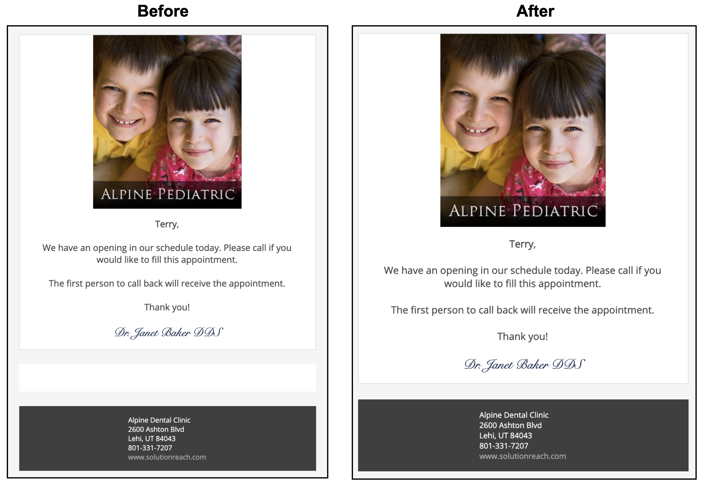 Before and After images of group message emails showing removed white space