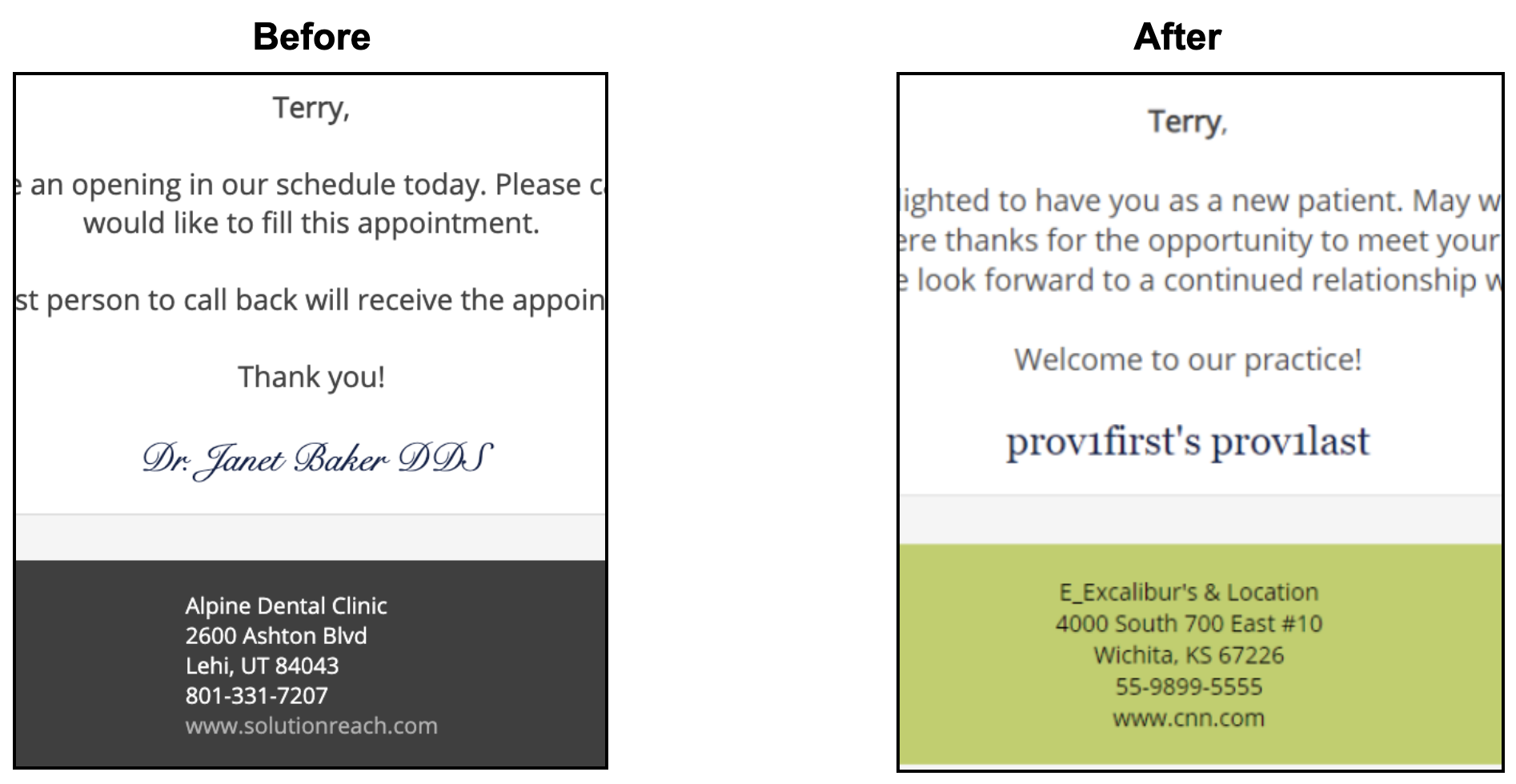 before and after of centered footer text