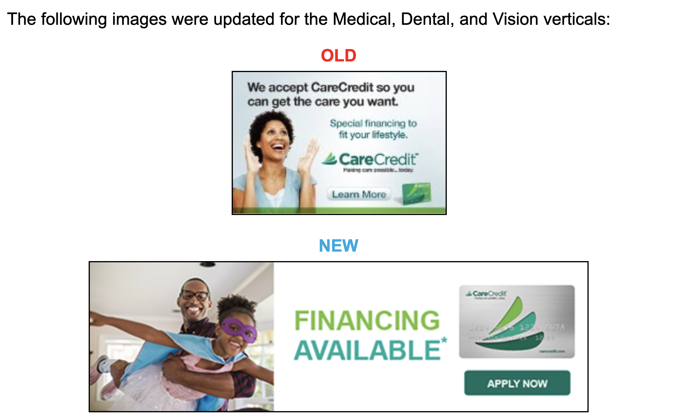 CareCredit old and new images for all verticals