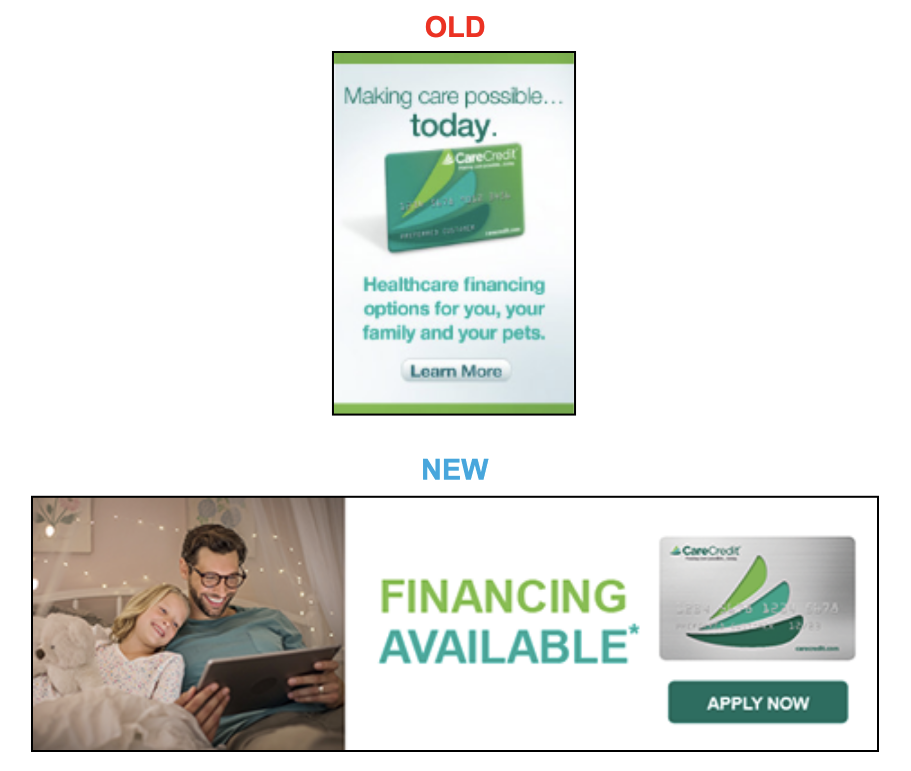 more examples of old and new CareCredit images for all verticals