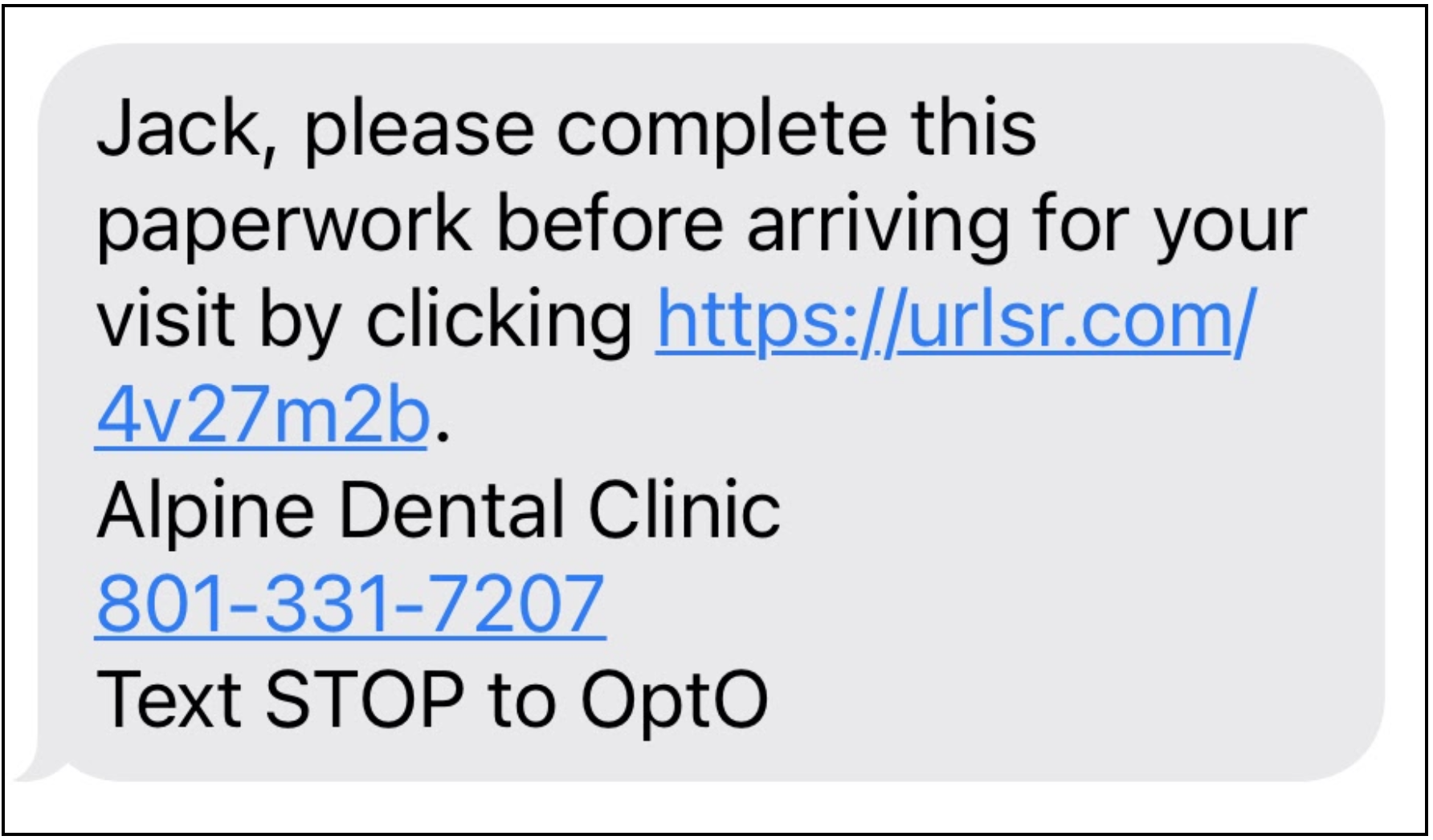 Screenshot of patient-facing text message with intake packet name