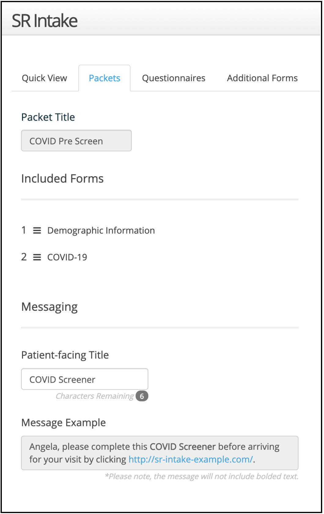 Screenshot of patient-facing title field during intake packet creation/edit