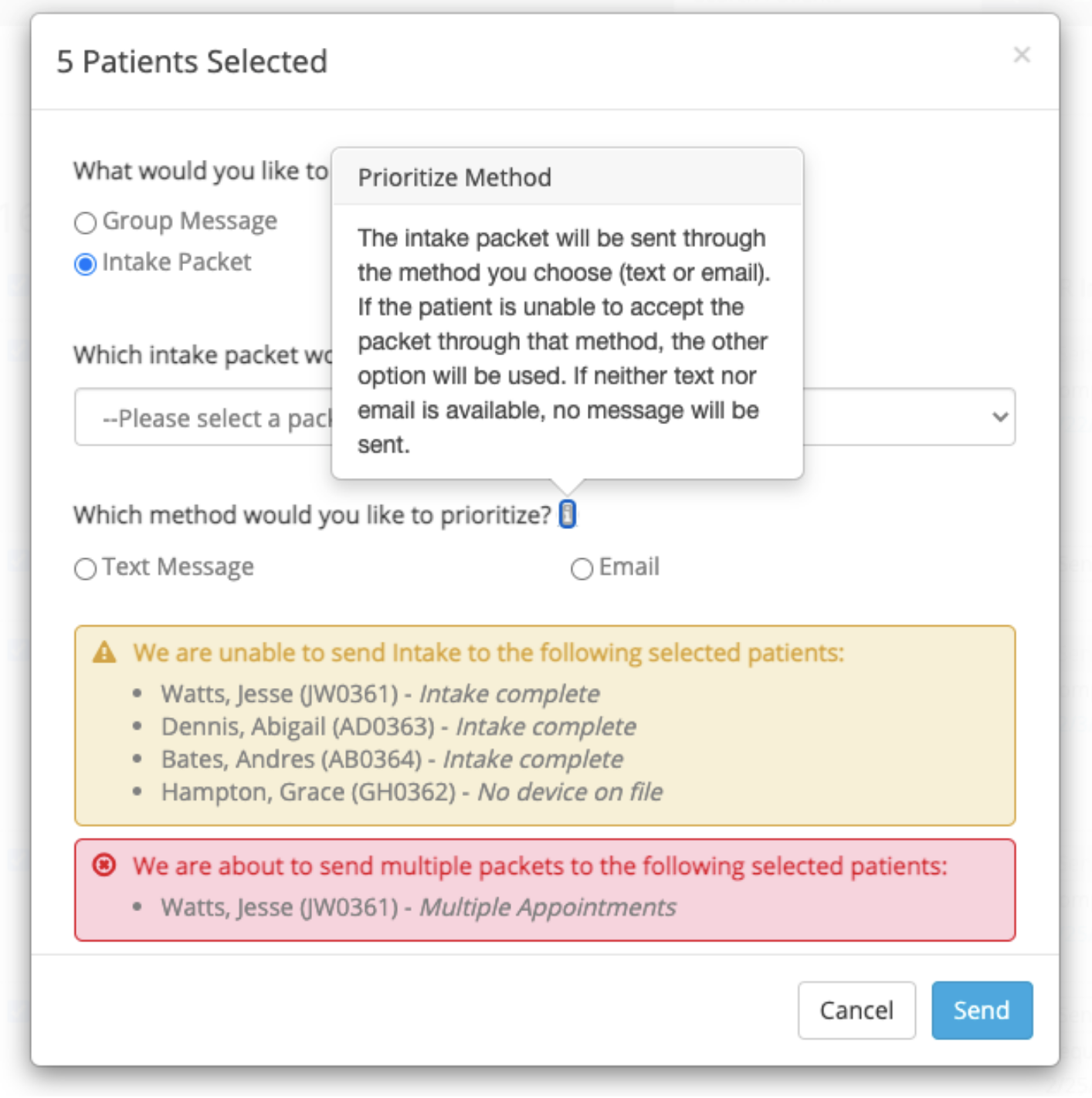 popover to send intake packets to multiple patients
